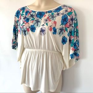 H&M Tops - H&M Floral Butterfly Sleeve Top Cream NWT